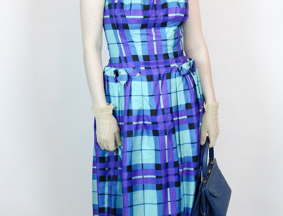 Vintage 1950s 60s Suzy Perette Dress 100% Silk Gingham Size S