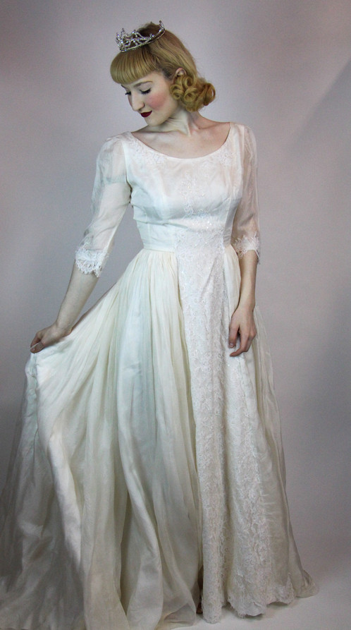 Vintage 50s Wedding Dress Georgette Silk Embroidered Lace, Size S