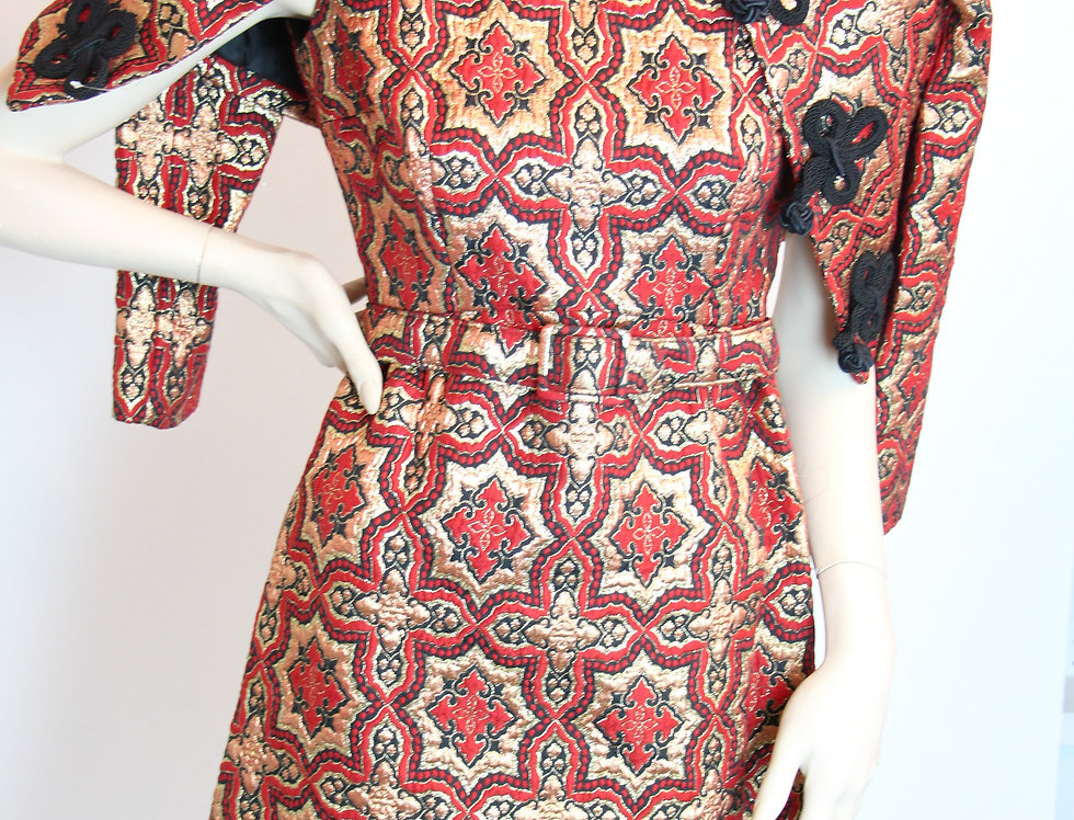 Fabulous 60s Metallic Brocade MOD Dress & Jacket Frog Closures L