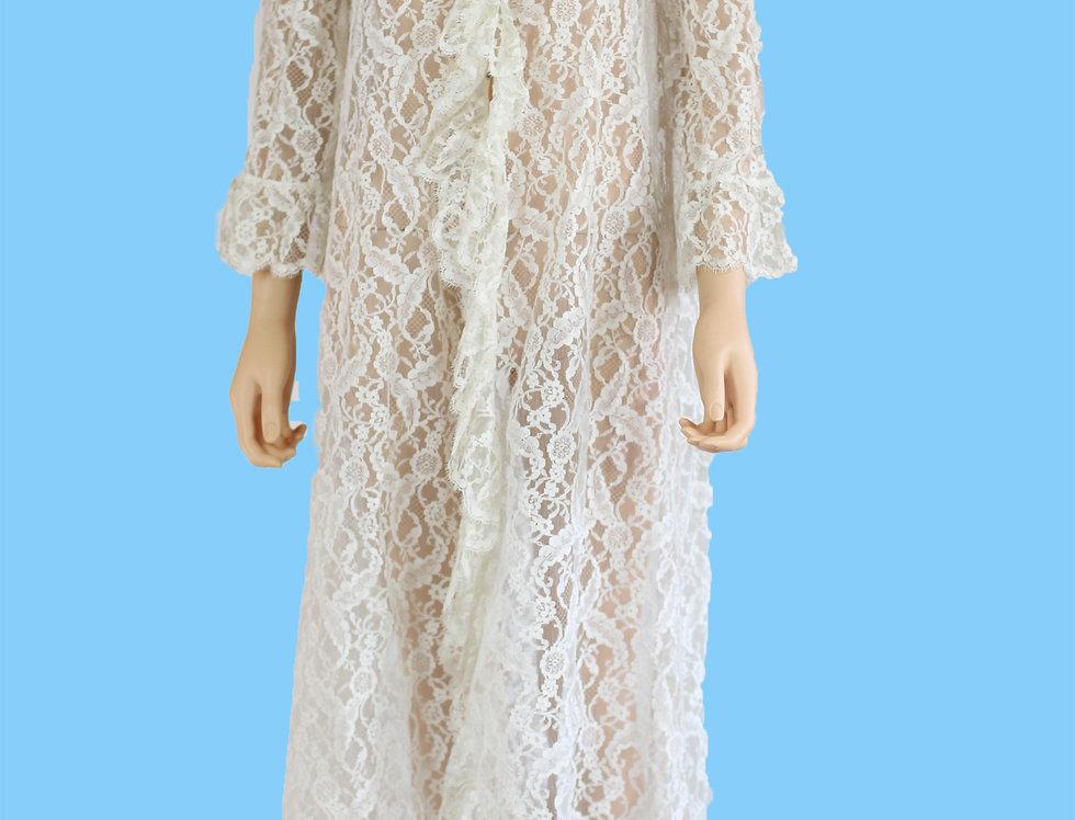 Vintage 1950s White Lace Robe Lingerie Peignoir,Size S/M