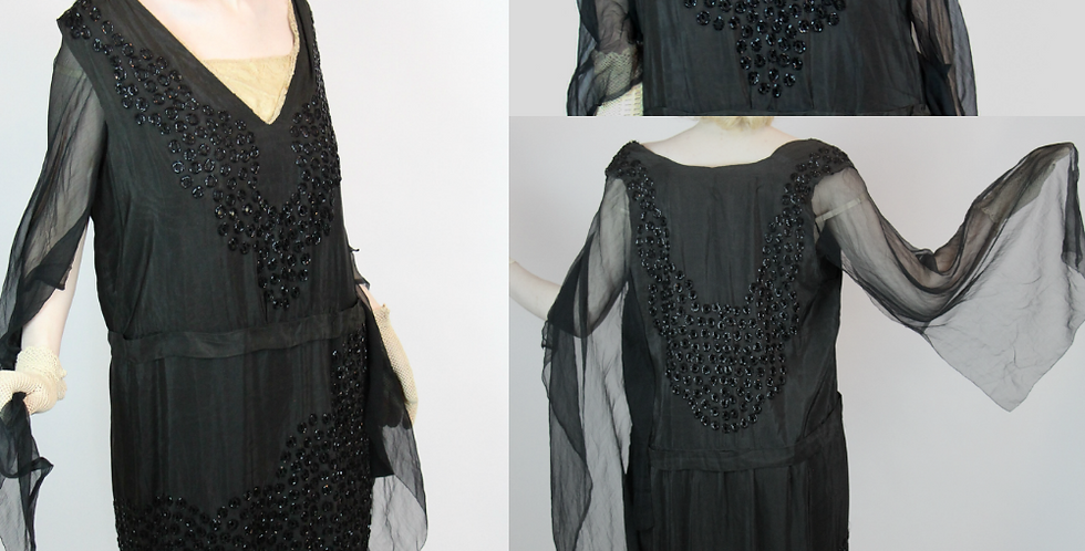 Antique 1920s Flapper Beaded Black Silk Evening Dress S M