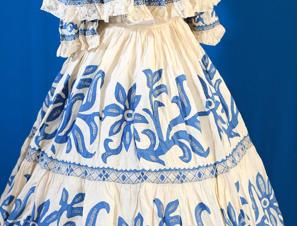Linen Blue Applique Victorian Dress