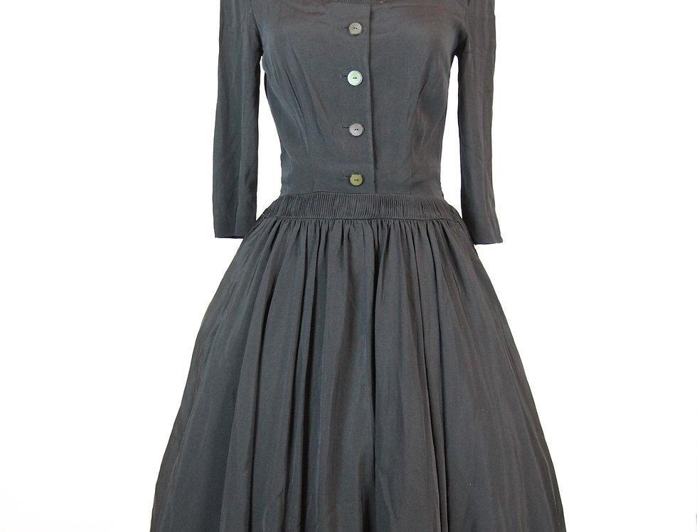 Vintage 1950s Black Rockabilly Dress, Size S