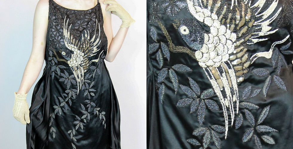 Vintage 1920's Designer Couture Bird of Paradise Beaded Dress S/M