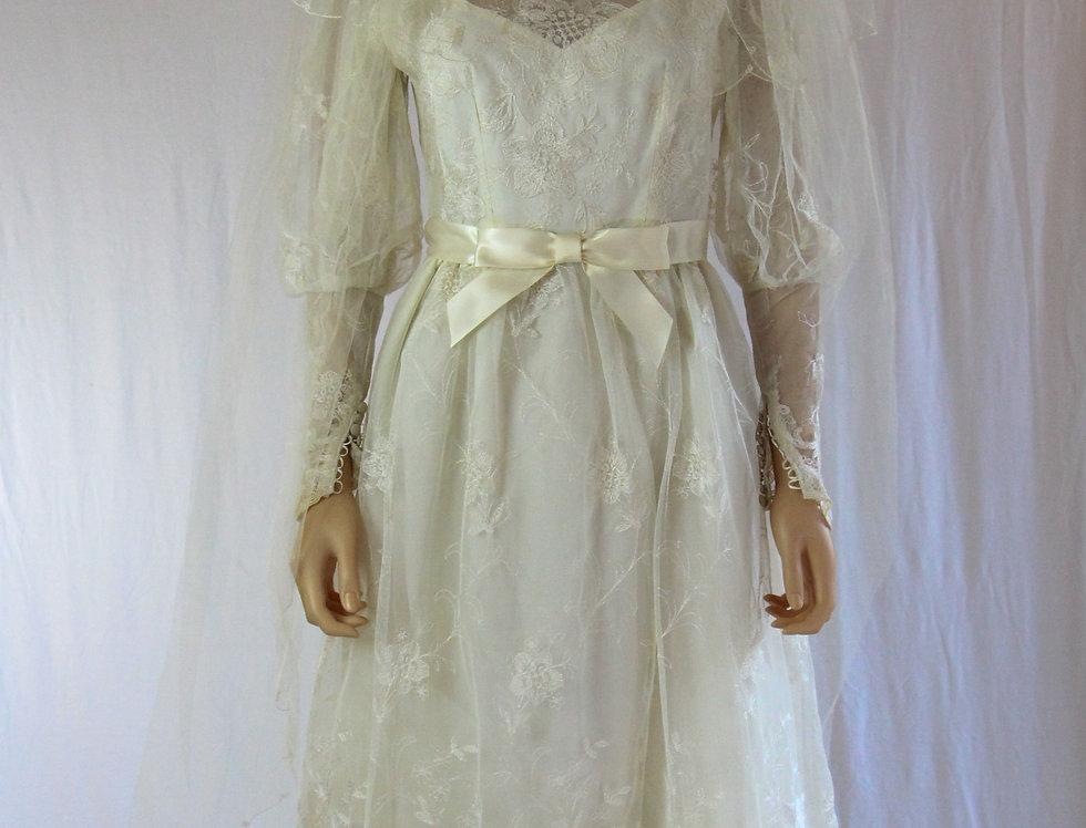 60s Bianci Embroidered Lace Wedding Dress