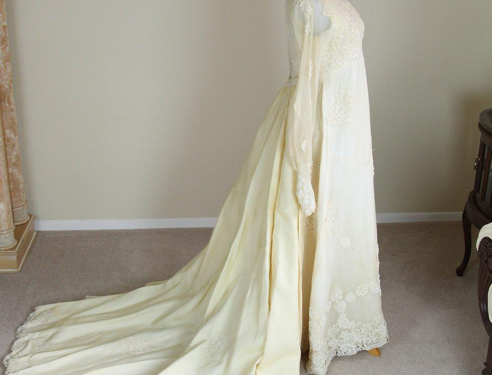 Vintage 70s Satin Lace Wedding Dress