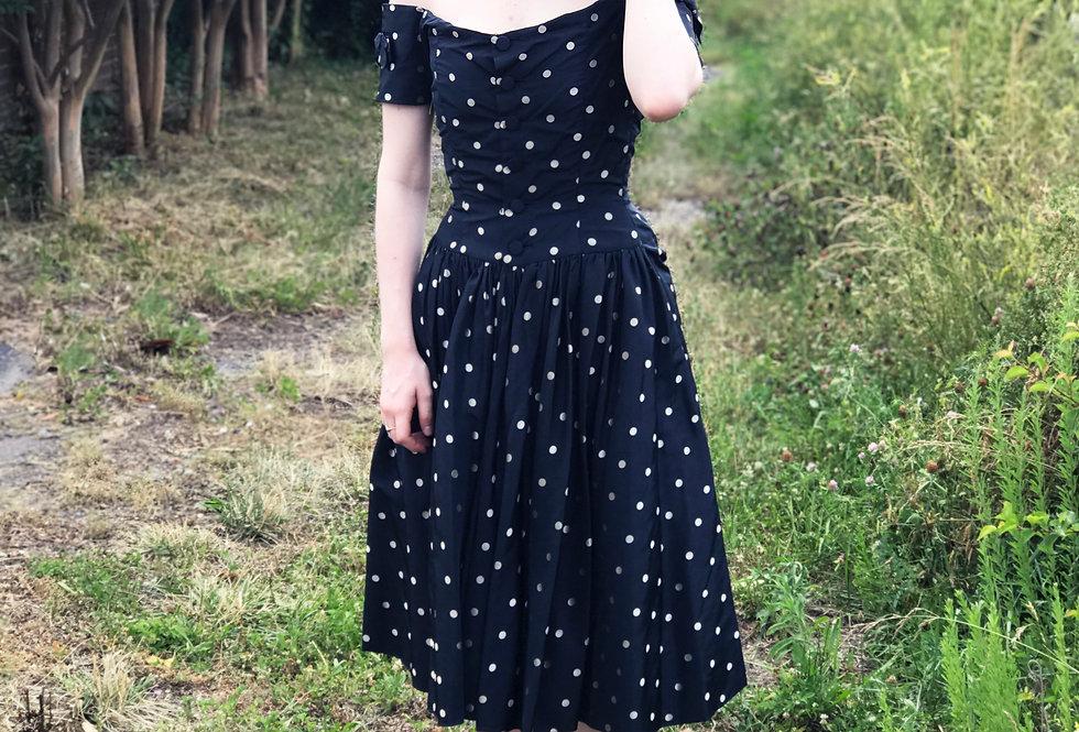 Vintage 1950s Dress Polka Dot Silk Off The Shoulder S XS