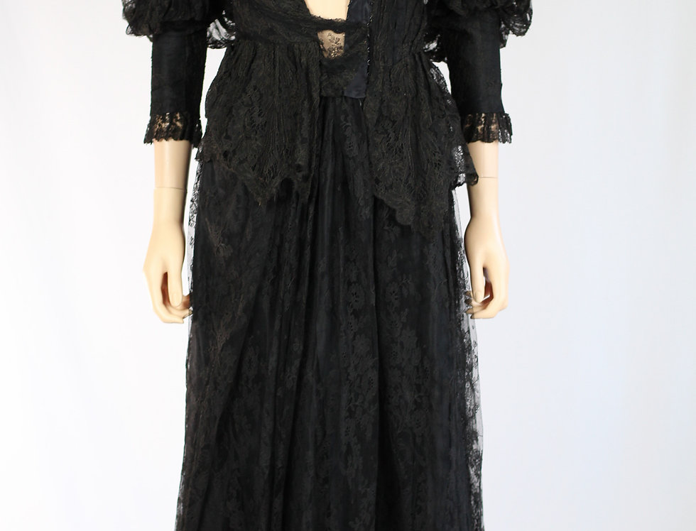 Victorian Allover Lace Dress Mutton Sleeve