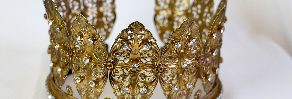 Antique 19th Century Jeweled Filigree Crown