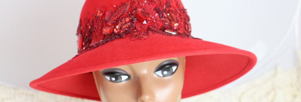 Vintage 70s Don Anderson Red Hat with Sequin & Jewel Embellishments