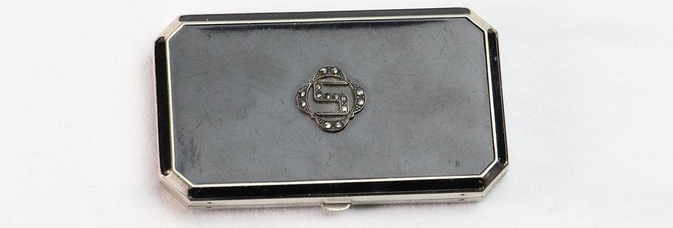 Vintage Art Deco Black Enamel Compact