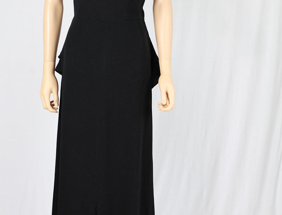 30s Elegant Art Deco Black Evening Dress