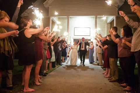 The sparkler send-off.