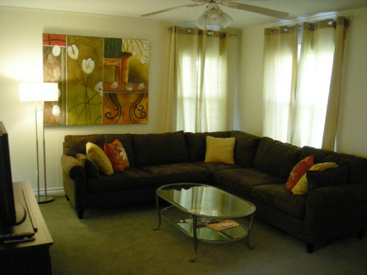 Lots of comfy seating in the living room.
