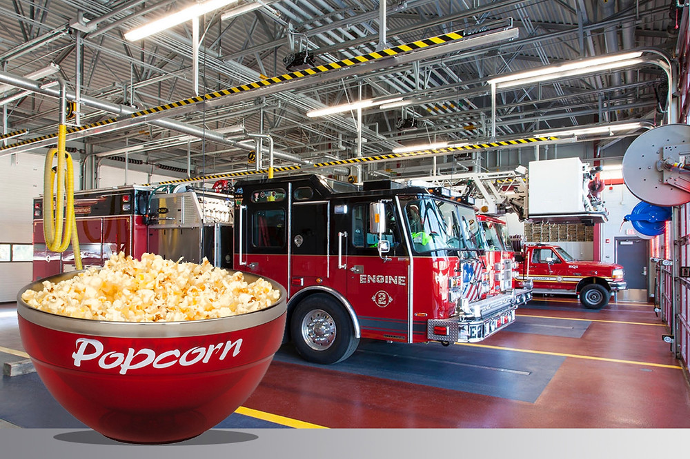 A bowl of popcorn in a fire station