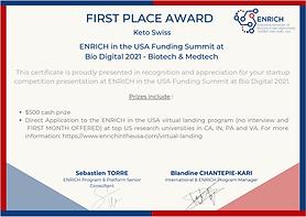 KetoSwiss earns #1 spot at ENRICH Funding Summit Bio Digital 2021