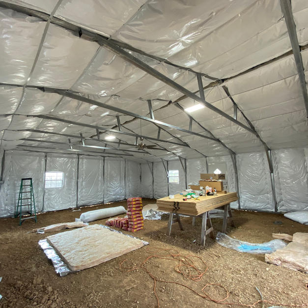 """After Barn Photo. 6"""" vinyl backed insulation"""