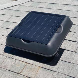 Profile view of our solar attic fans.