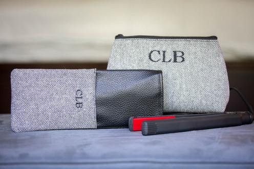 Herringbone Flat Iron Holder and Cosmetic Bag Set