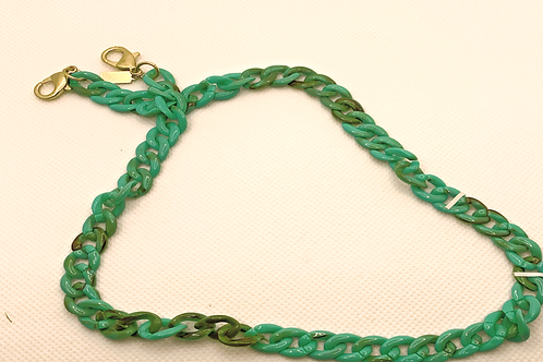 Legacy Resin Curb Chain Mask Necklace in Aqua - 20""