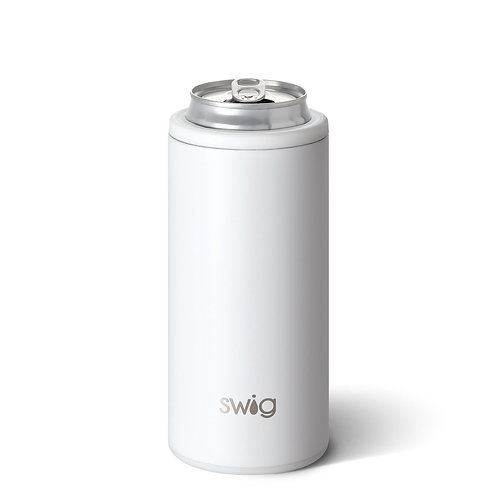 Matte White Skinny Can Cooler