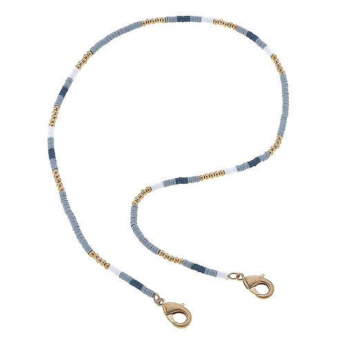 Emberly Color-Block Polymer Clay Mask Necklace in Grey - 20""