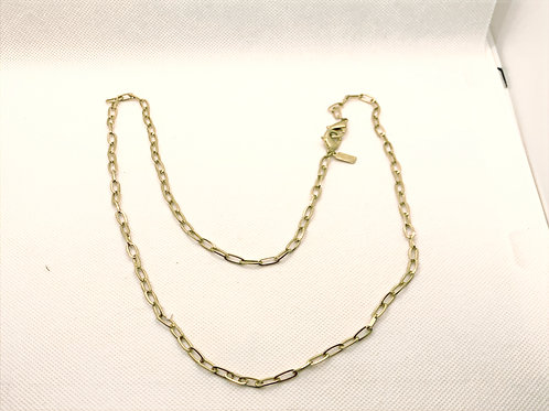 SoleilPaperclip Chain Mask Necklace in Worn Gold - 20""