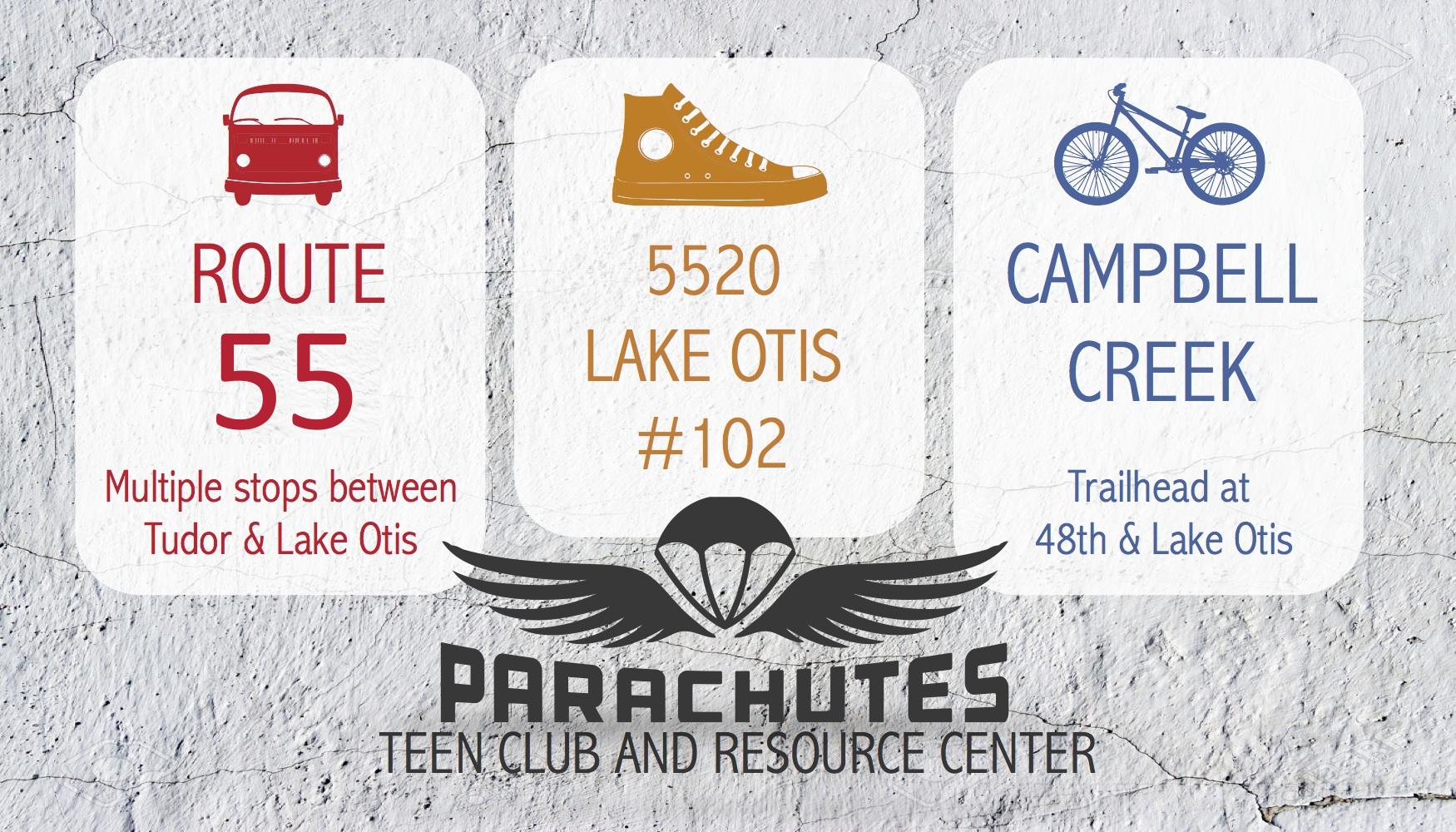Parachutes Location Card front