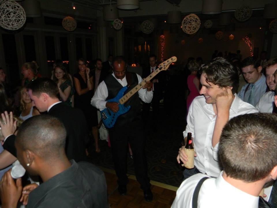 Sam working the crowd
