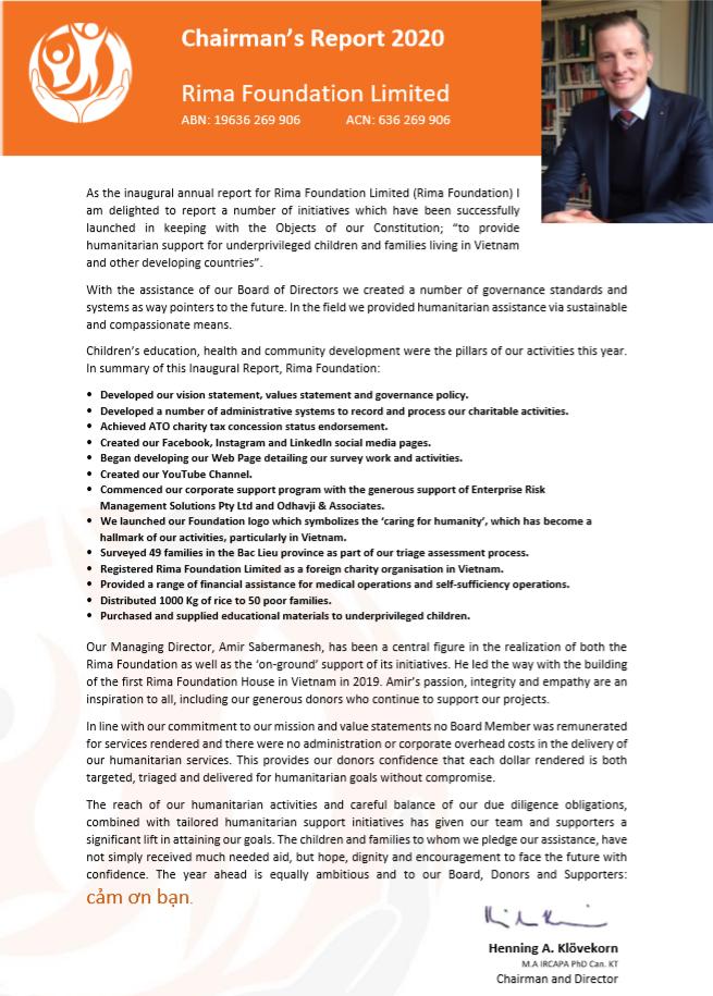 Chairmans Report 2020                         Rima Foundation Ltd.