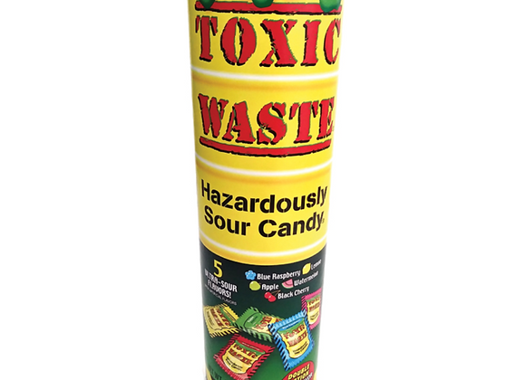 CANDY TUBE BANK 9 INCH - TOXIC WASTE SOUR CANDY  3.95OZWRAPPED