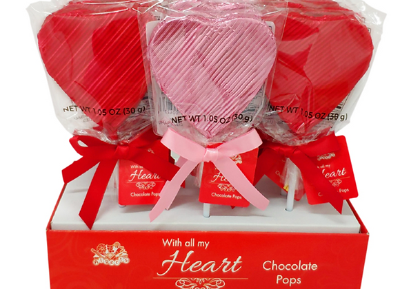 WRAPPED BELGIAN CHOCOLATE HEART POPS - RED & PINK 1 oz.