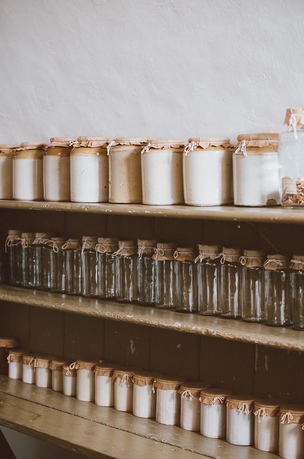 Organised jars on shelves