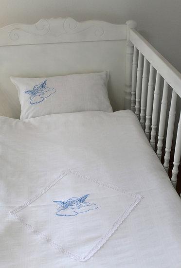 Dječja posteljina 29901 - dvodjelna, nebesko plavi konac