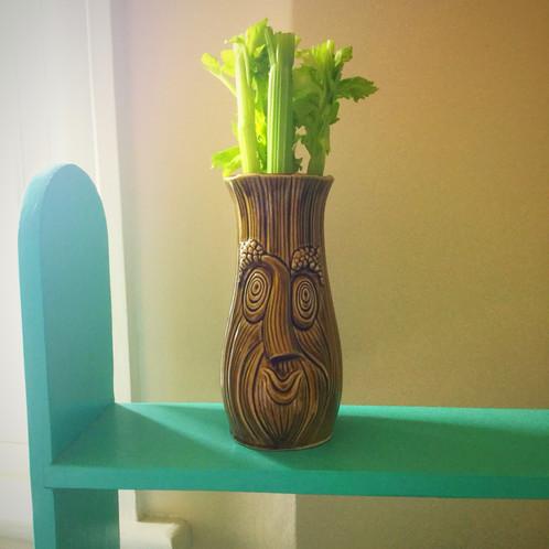 Vintage Retro 1960s 1970s Sadler Earthenware Celery Vase Olive