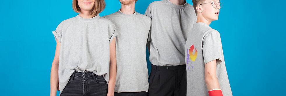 Extra bleu ciel / T-shirt gris