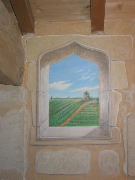 Paysage typique avec moulin à vent