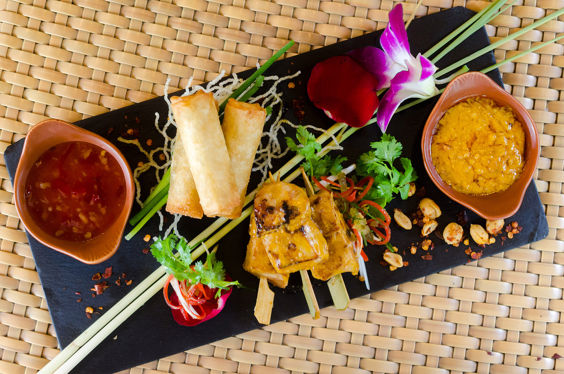 Edsa Shangri-La, Manila's executive chef, Scott Brands prepared Chicken satay skewers with peanut sa