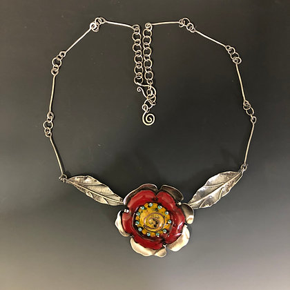 Red Poppy Pendant with Leaves