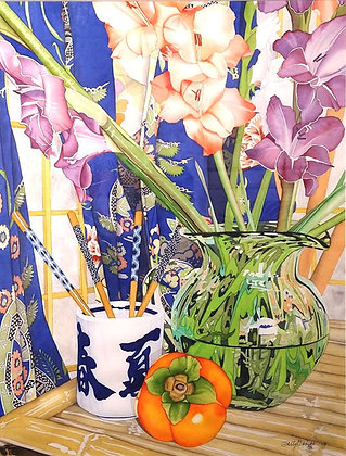Gladiolus in Green Glass Pitcher