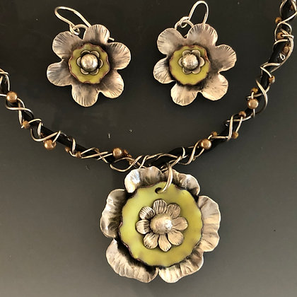 Yellow Flower Pendant + Earrings