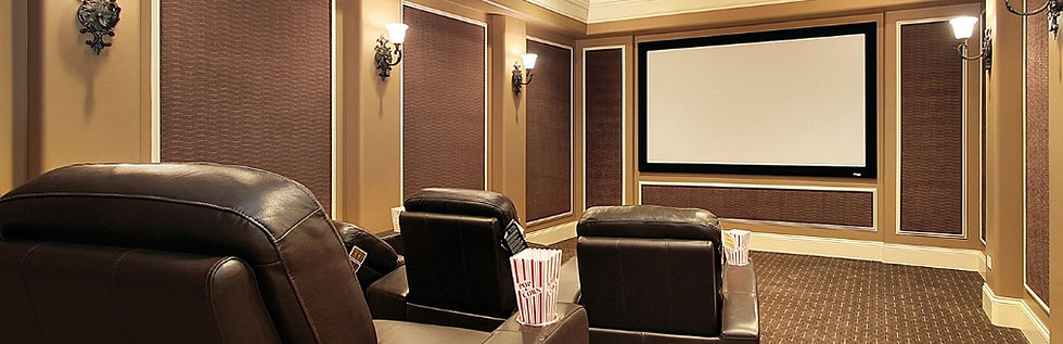 home theatre with fixed frame HD projection screen, UHD home theatre projector, 5.1 surround sound system with integrated lighting control, cinema, movies, custom theatre design