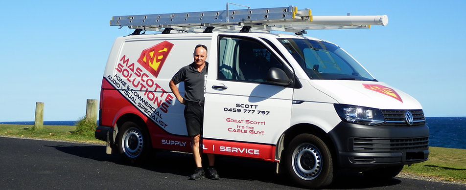Great Scott! It's the Cable Guy! Scott Dickson with the Mascotte Solutions van at Sawtell Headland