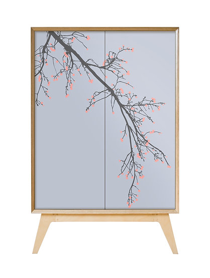 Blossom Cabinet in grey with coral pink blossom
