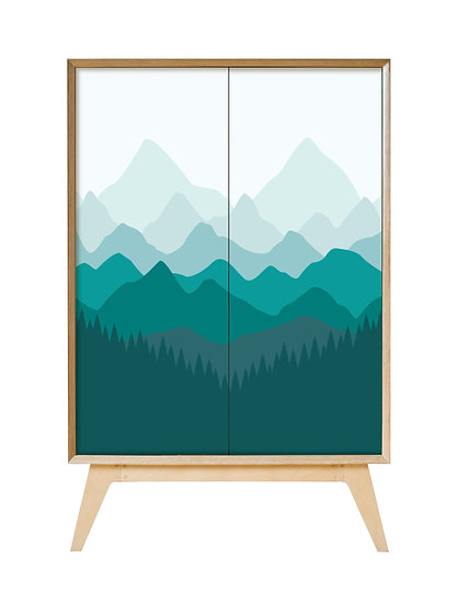 Mountains Cabinet in teal tones