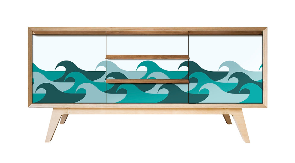 Wave Sideboard in teal tones