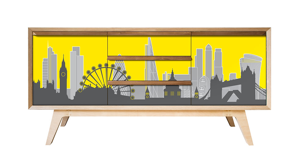 London Skyline Sideboard in yellow and grey