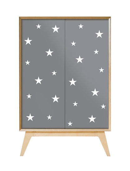White stars on grey Cabinet