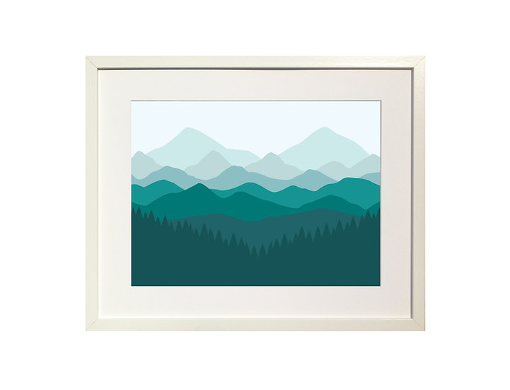 Teal 'Mountains' Limited Edition Print
