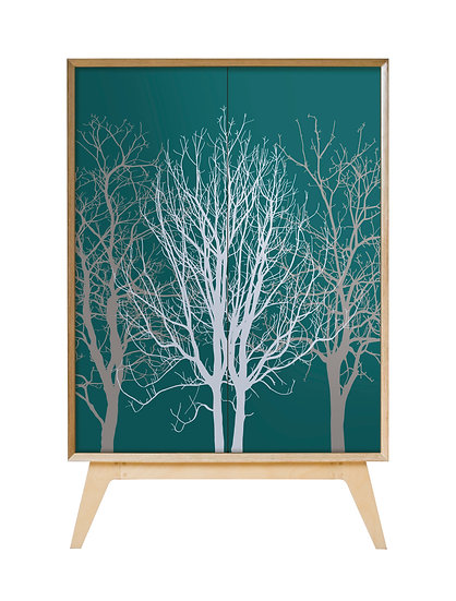 Trees Cabinet in Teal and Grey